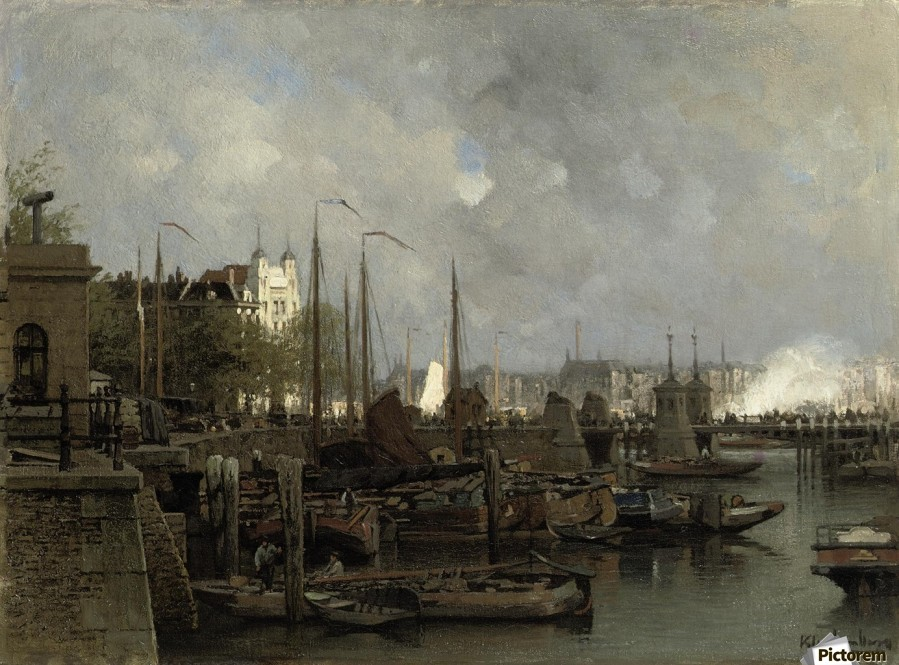 Oude haven with the Koningsbrug  Print