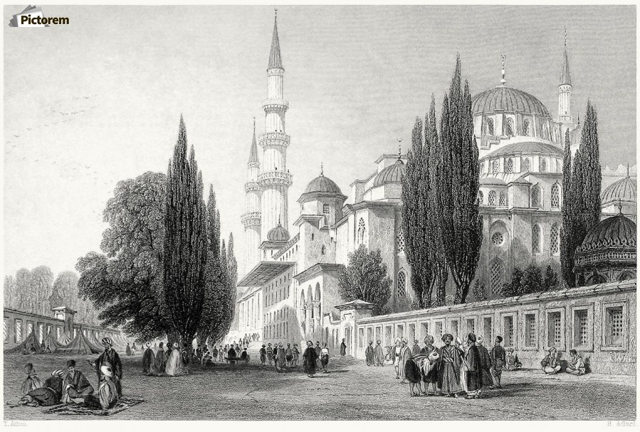 Outside mosque  Print