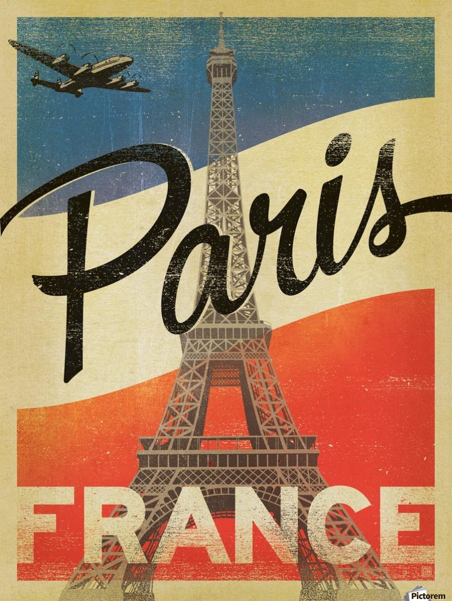 Paris France Vintage Poster Vintage Poster Toile