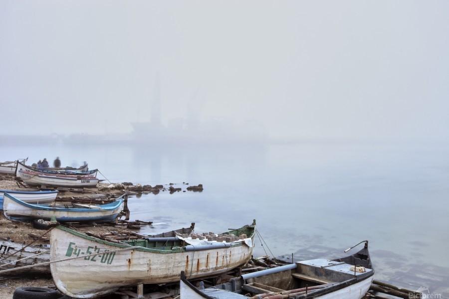 Fishing boats in fog  Print
