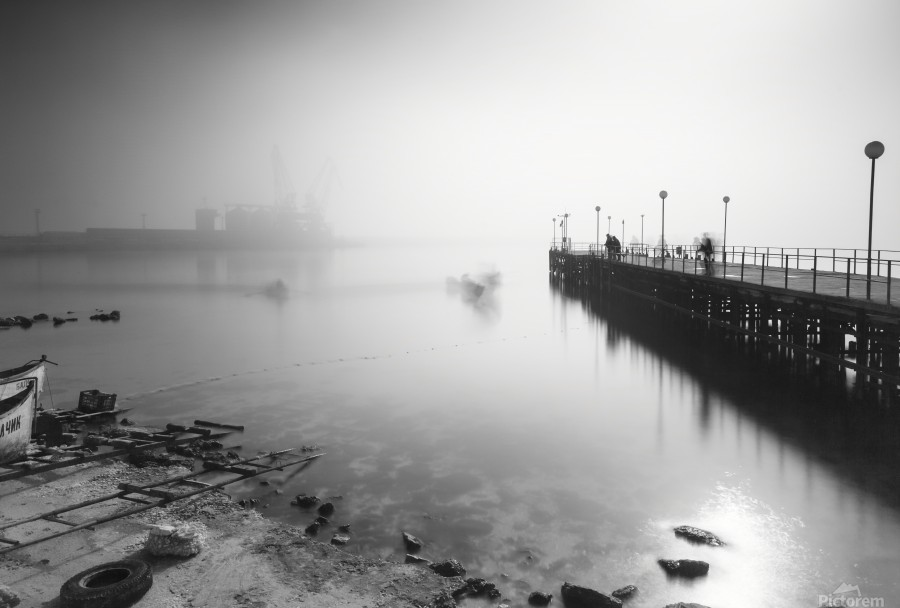 Foggy evening at the port of Balchik  Print