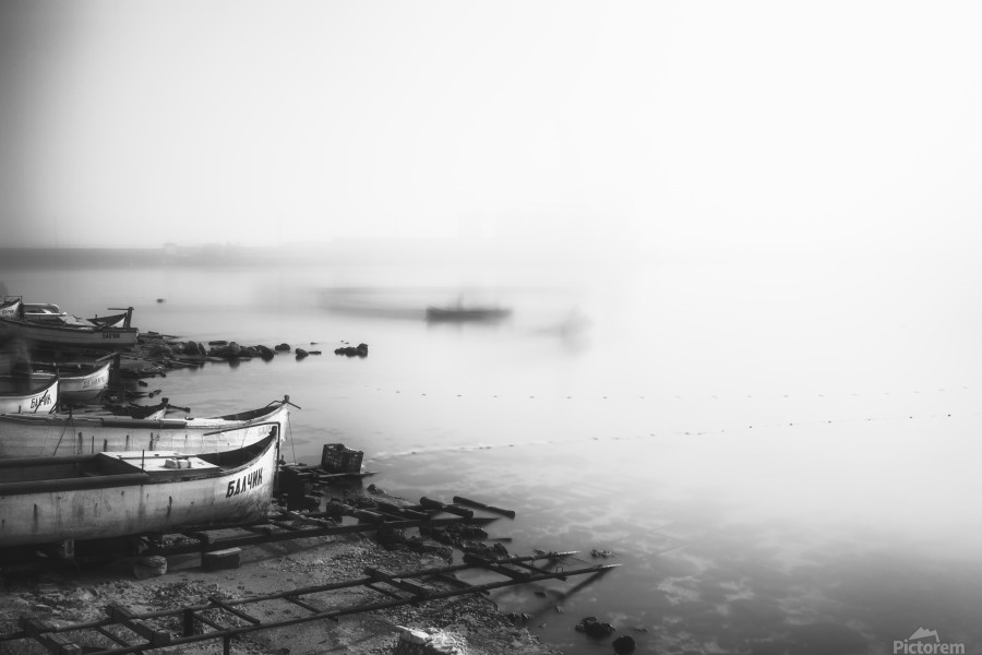Foggy fishing port  Print