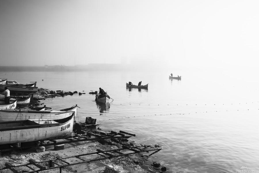Fishing boats at the foggy port of Balchik  Print