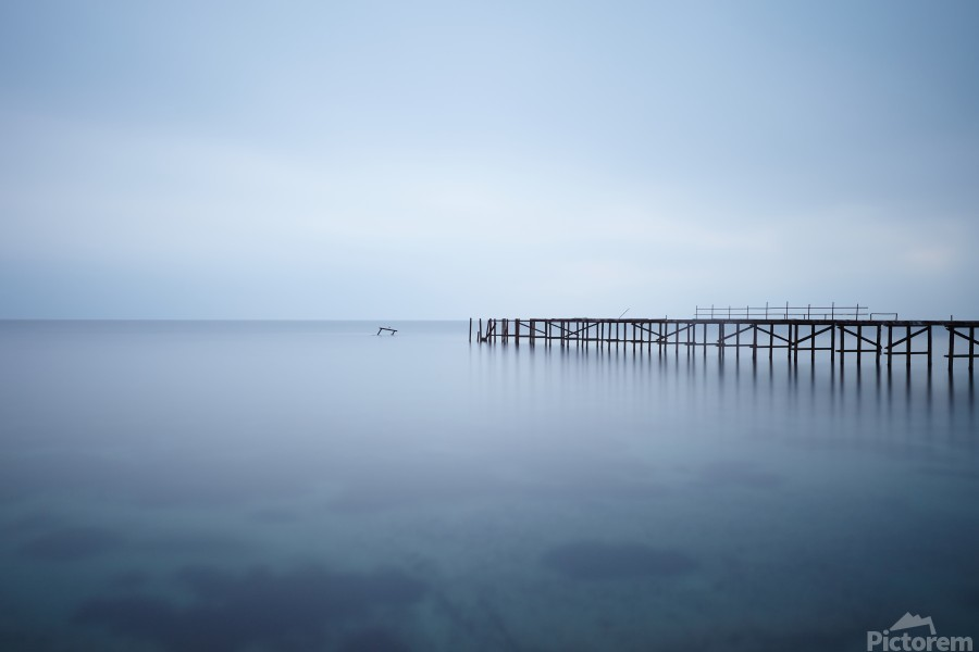 Abandoned pier in the sea at sunset  Print