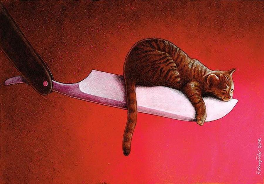 Razor  Cat  Print