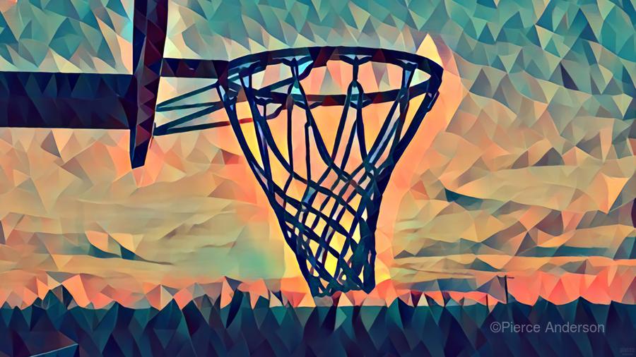 basketball hoop sunset  Print