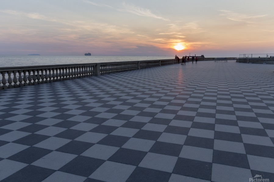 Sunset in Livorno - Piazza Mascagni  Print