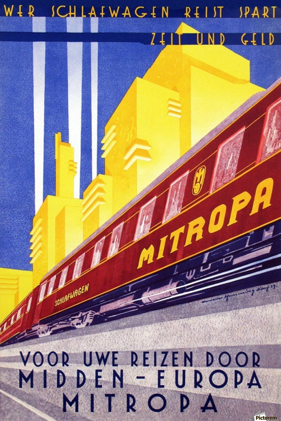 Poster Mitropa Midden - Europa, 1929  Print