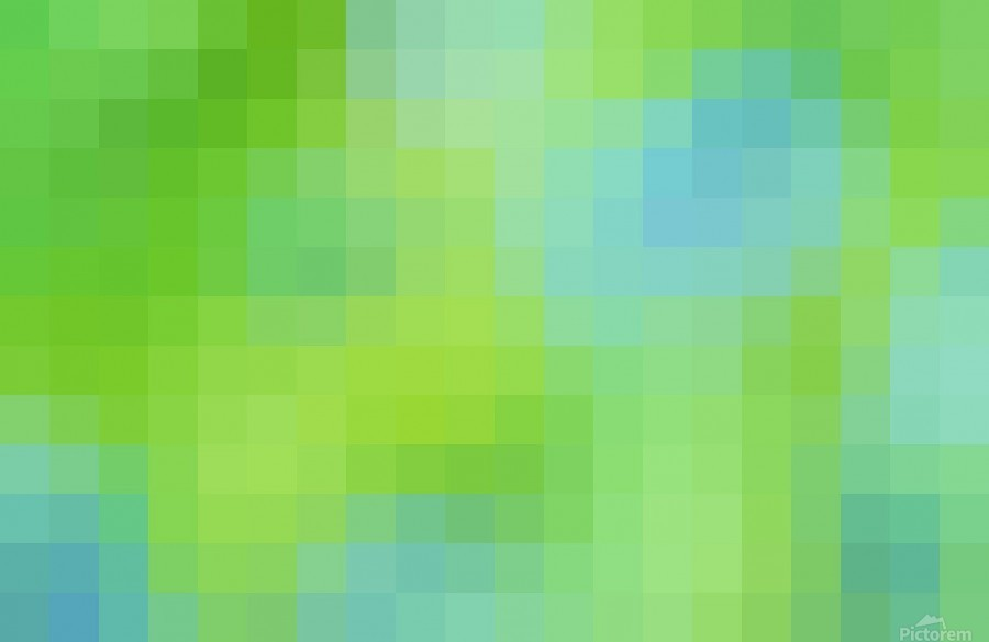Abstract Pixel Art - blue and green 2  Print