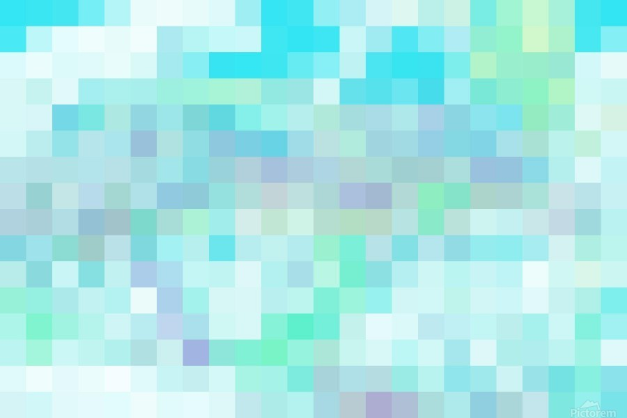 Abstract Pixel Picture -Ocean shades   Print