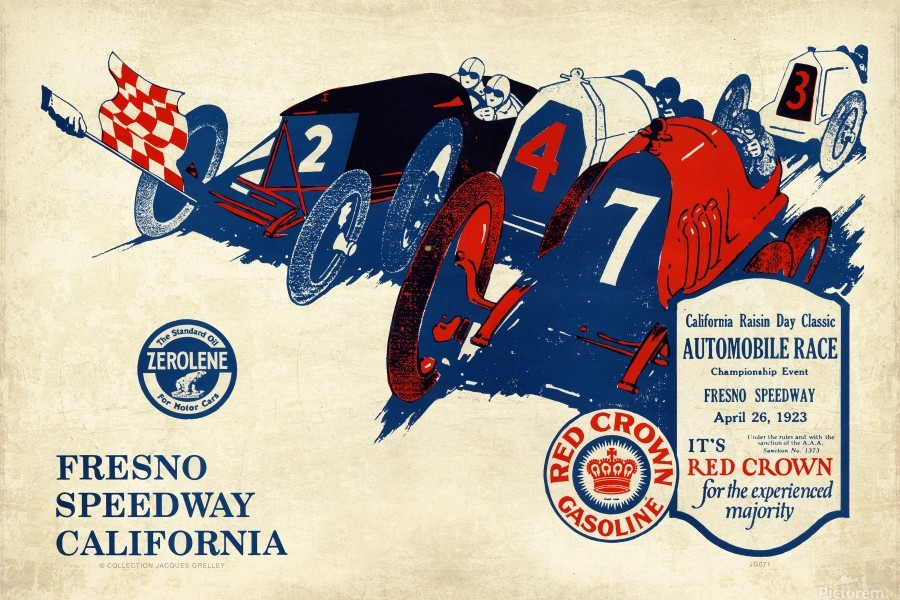 California Raisin Day Classic Automobile Race Championship Event Fresno Speedway 1923  Print