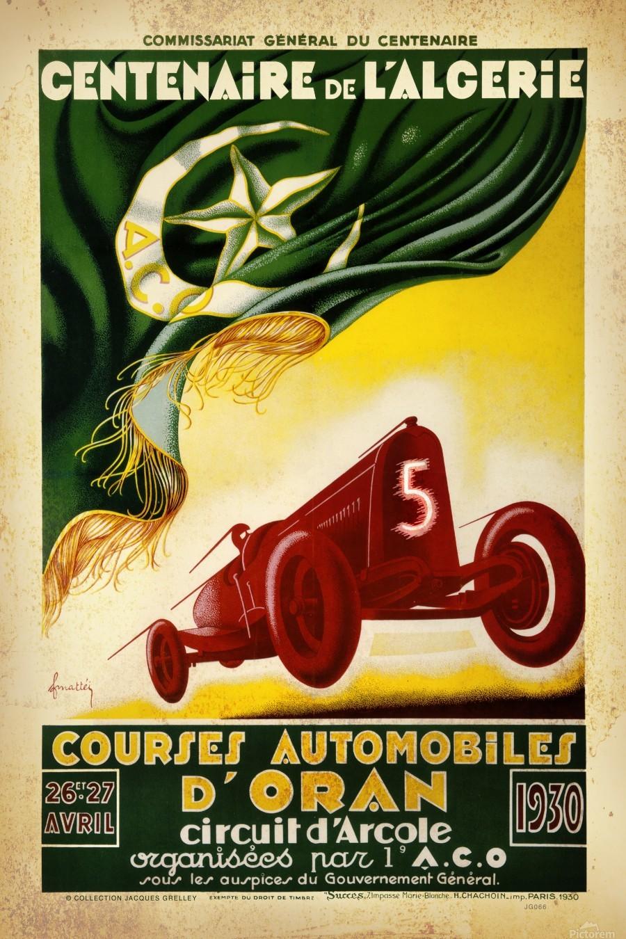 Centenaire L'Algerie Courses Automobiles D'Oran 1930  Print