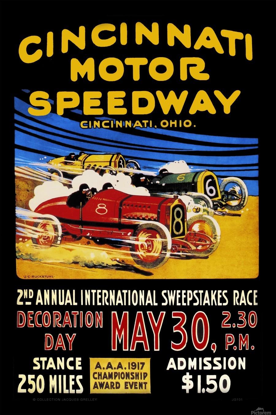 CincIInnati Motor Speedway 2nd Annual International Sweepstakes Race 1917  Print