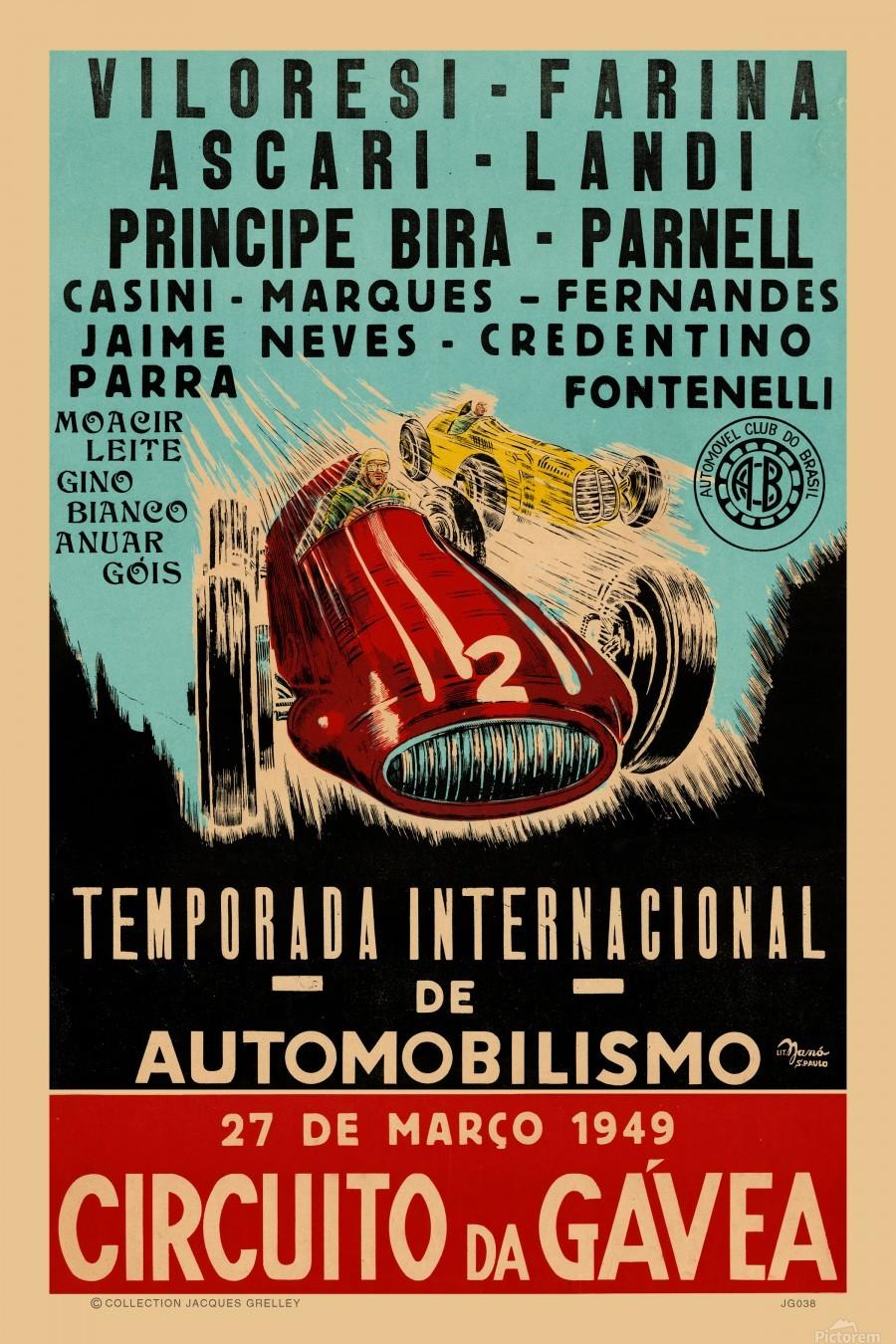 Gavea Circuit Circuito Gavea 1949 Temporada Internacional De Automobilisimo 1949  Print