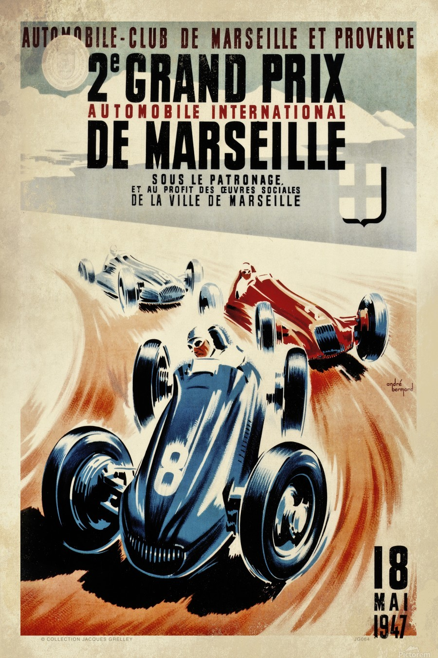 Marseille 2nd Grand Prix Automobile International 1947  Print