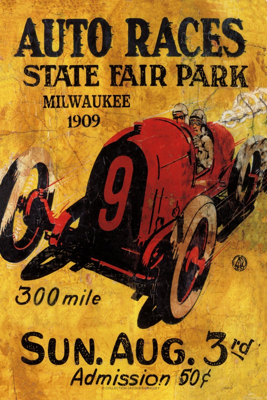 Milwaukee 300 Mile Auto Races State Fair Park 1909  Print