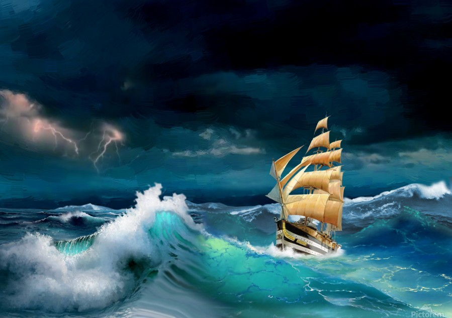 Hard way sailboat. sailing ship  Print