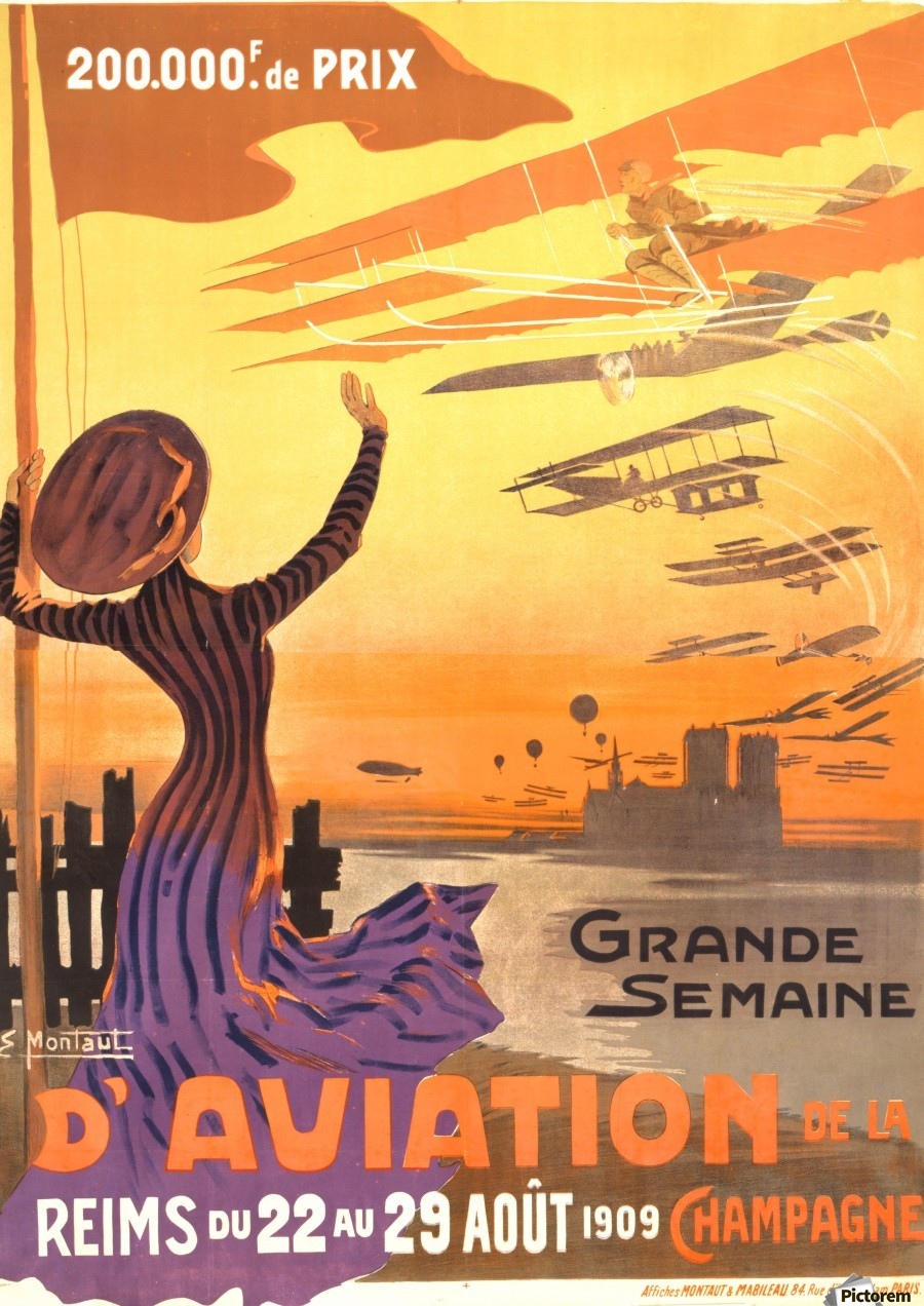 Reims France Aviation Poster Week August 22-29, 1909  Print