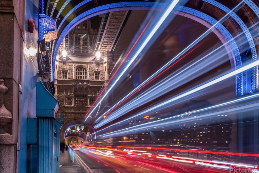 Light trails along Tower Bridge London  Print