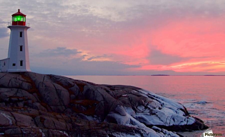 Peggys Cove Winter Sunset  Print