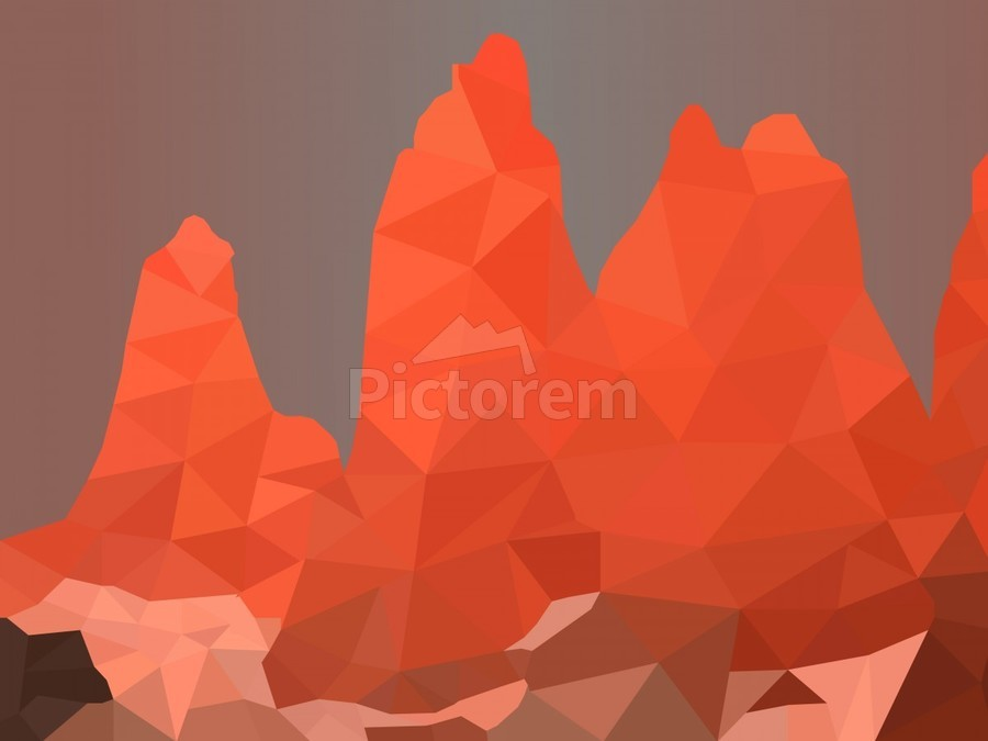 Torres del Paine National Park Low Poly Art   Print