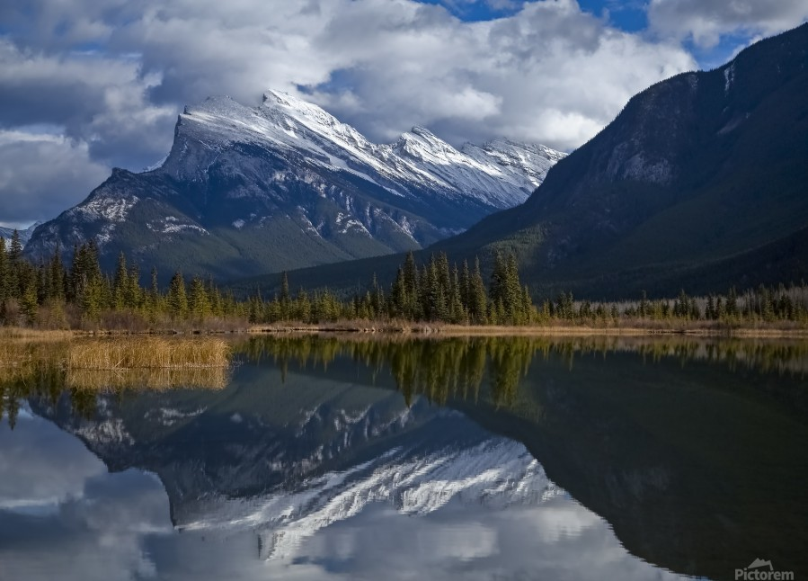 Mt. Rundle mirrors  Print