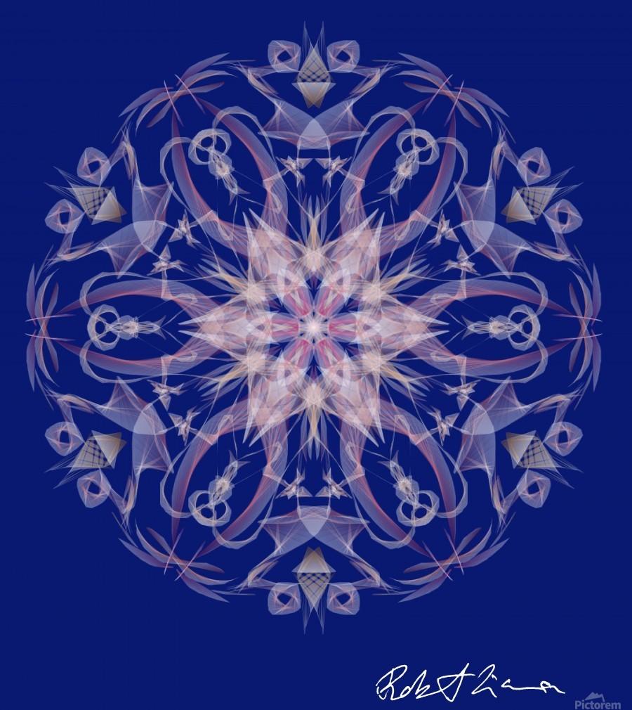 Limited Edition - Blue Graphic Art Healing Mandala 1005  Print