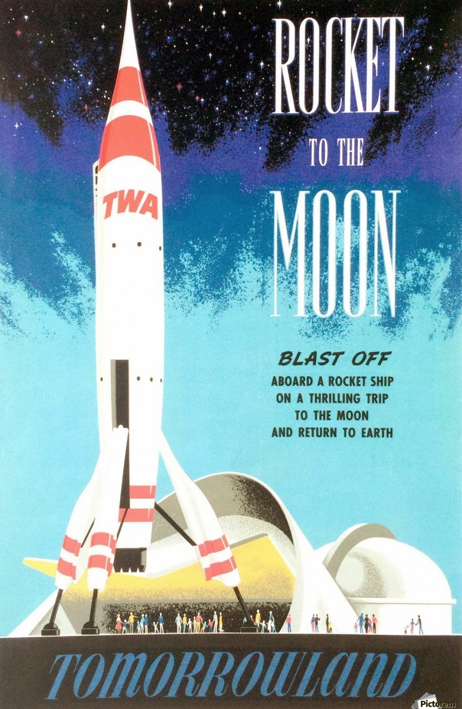 rocket to the moon tomorrowland poster vintage poster canvas