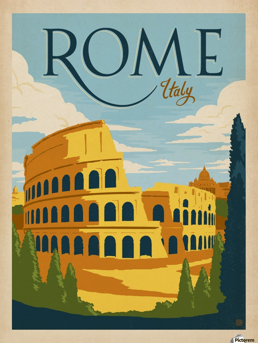 Rome Italy vintage poster - VINTAGE POSTER Canvas