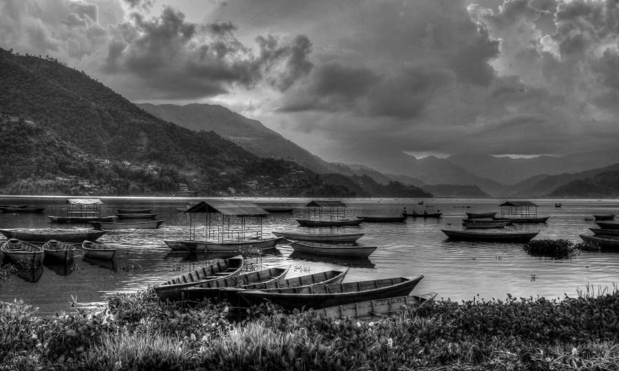 Monochrome Madness - Fewa Lake  Print