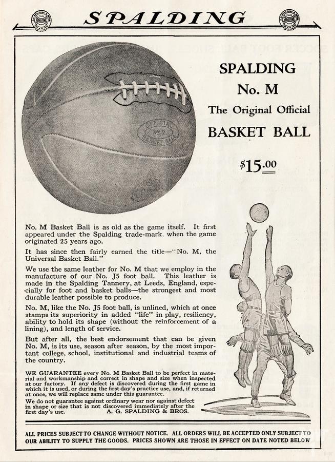 1921 Spalding Basketball Advertisement Poster  Print