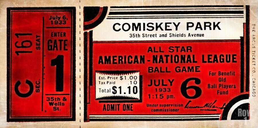 1933 Comiskey Park All-Star Game Ticket Art  Print