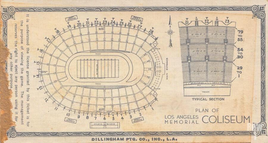 1933 LA Coliseum Map Art  Print