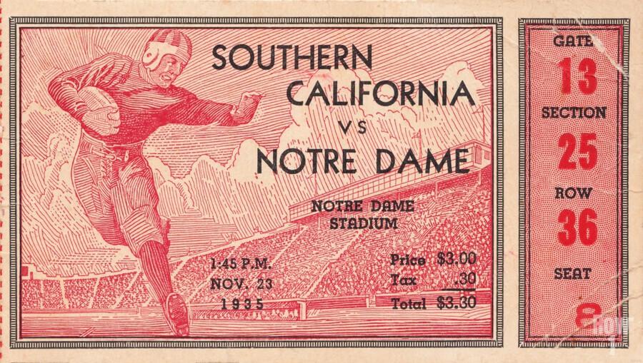 1935 Notre Dame Irish USC Trojans College Ticket Stub Art  Print
