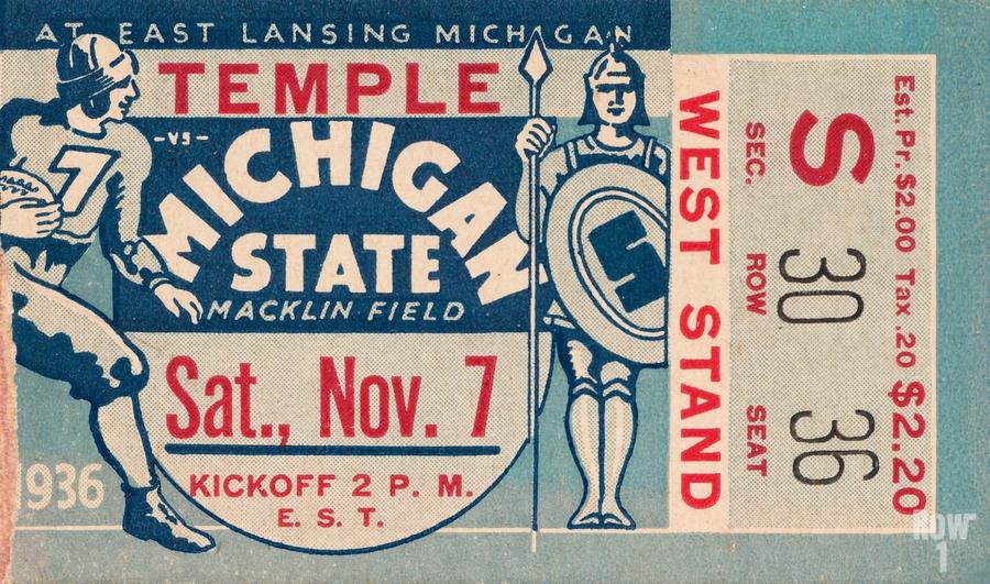 1936 Michigan State vs. Temple Football Ticket Art  Print