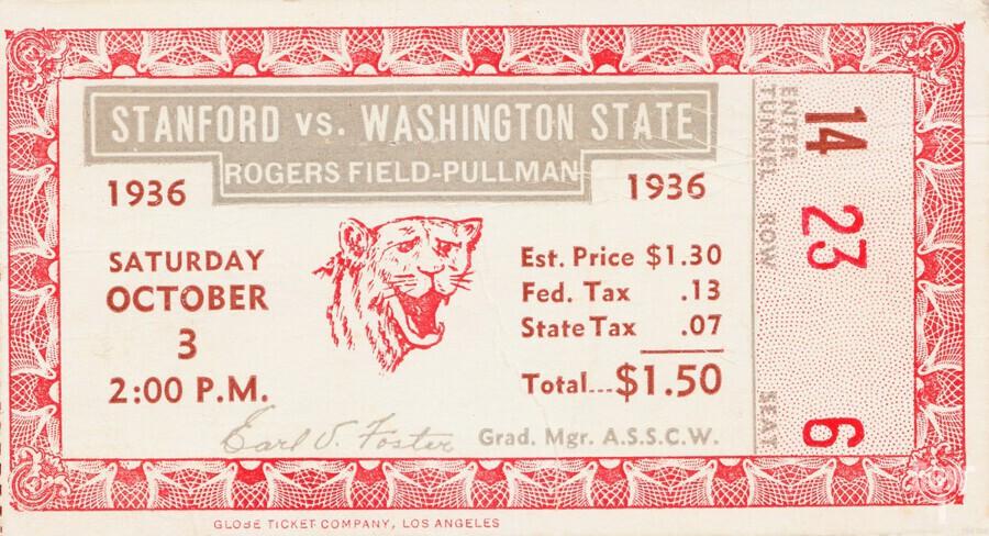 1936 Washington State vs. Stanford  Print