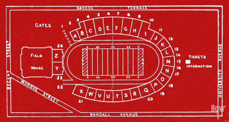 1937 Camp Randall Stadium Map  Print
