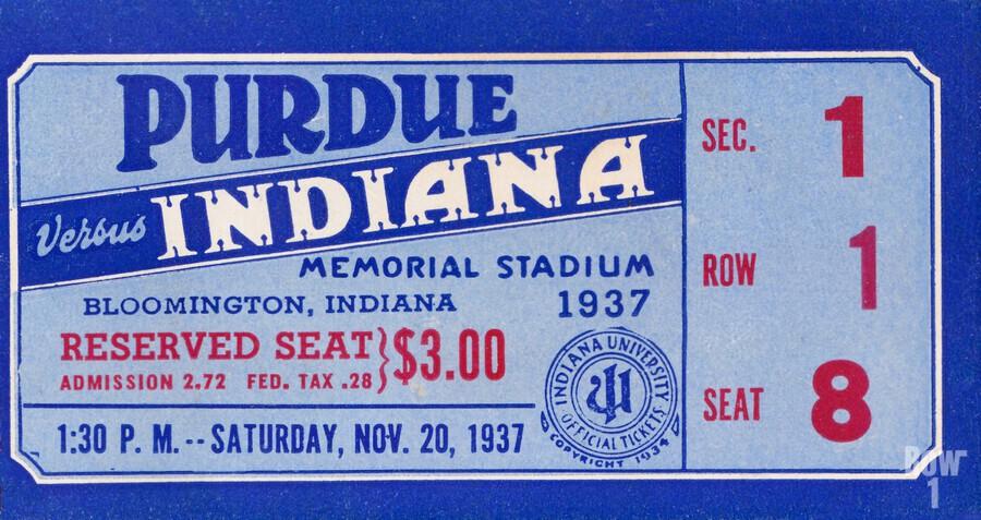1937 Indiana vs. Purdue Ticket Stub Art  Print