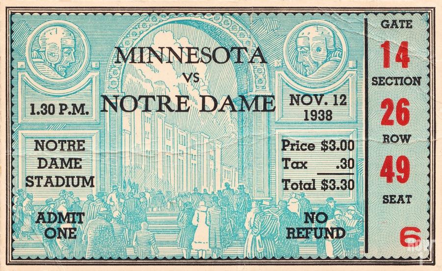 1938 Minnesota vs. Notre Dame Football Ticket Canvas  Print