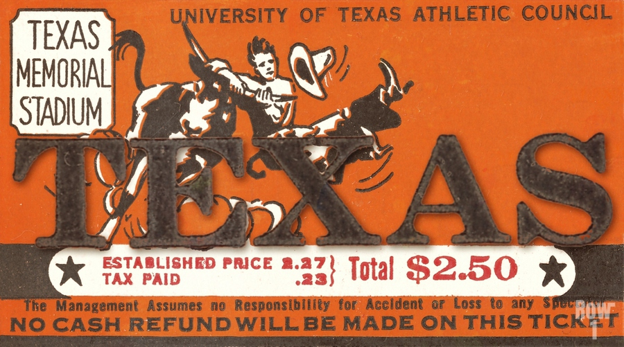 Vintage Thirties Texas Longhorn Football Ticket Remix Art  Print