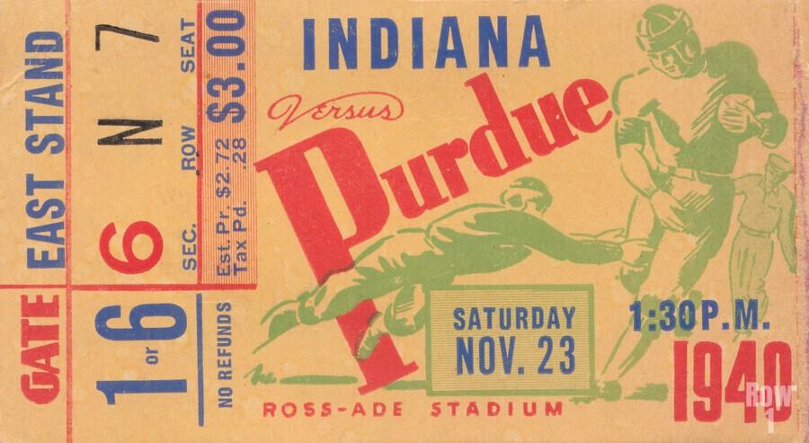 1940 Indiana vs. Purdue Football Ticket Canvas  Print