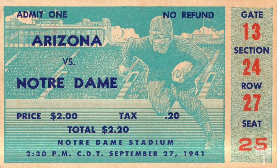 1941 arizona notre dame football frank leahy first game  Print