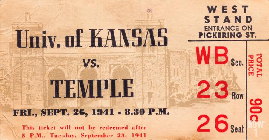 1941 Temple vs. Kansas  Print