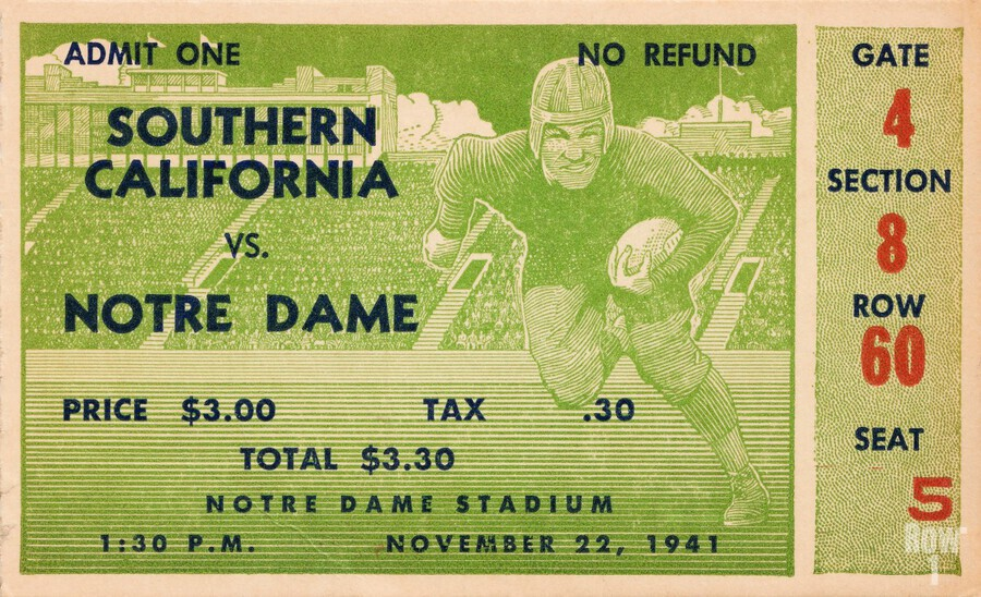 1941 usc notre dame football ticket wall art sports gift ideas south bend indiana  Print