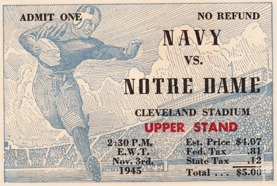 1945 Notre Dame vs. Navy Football Ticket Stub Metal Sign  Print