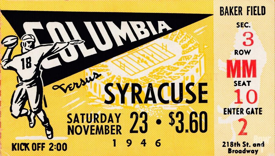 1946 columbia syracuse football ticket stub art number 18 jersey  Print