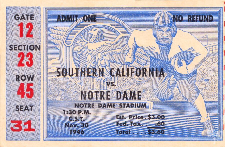 1946 notre dame southern california ticket stub framed prints  Print