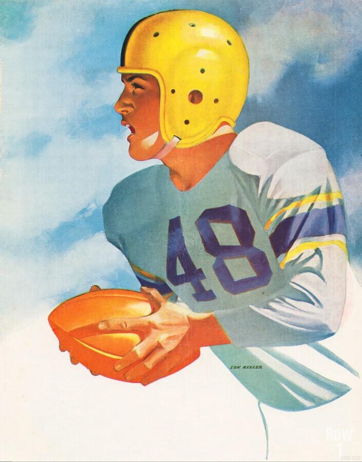 1948 Lon Keller Football Art  Print