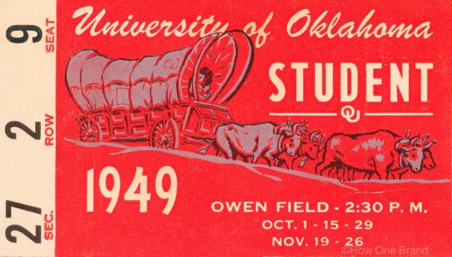 1949 oklahoma sooners football student season ticket art  Print