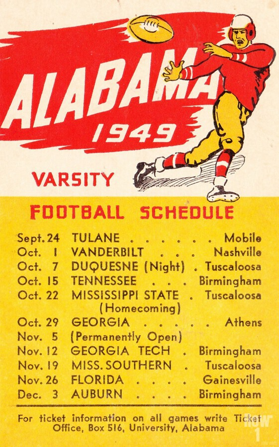 1949_College_Football_Alabama_Schedule_Row One Brand Vintage College Schedule  Print